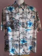 VTG Mens BASIC LINE Grey/Blue Floral Hawaiian Shortsleeve Shirt Size Large (y75)