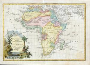 1782 L'AFRIQUE divisee en ses Principaux Etats MAP of AFRICA Continent (JM)