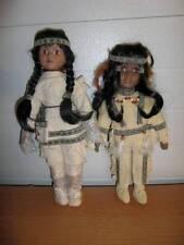 """Unbranded ~ Vintage 15""""/14"""" Porcelain Squaw Dolls"""