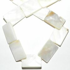 MP2156L2 White Natural 25mm Mother of Pearl Flat Rectangle Shell Beads 13""