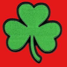 GREEN CLOVER IRISH SHAMROCK EMROIDERED IRON ON 4 INCH PATCH