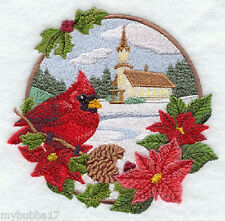 Country Christmas - Cardinal and Church  SET OF 2 HAND TOWELS EMBROIDERED