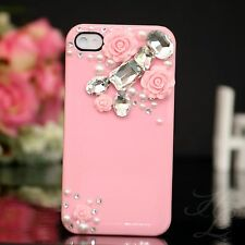 Apple iPhone 4 4S Hard Case Handy Tasche Schutz Hülle Etui Perle Steine 3D Rosa
