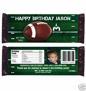 12 Football Birthday Party Favor Custom Super Bowl Party Football Candy Wrappers