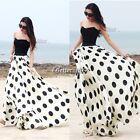 Summer Boho Women Long Maxi Polka Dot Beach Skirt Chiffon Pleated Dress BF9