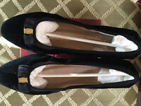 "$415 Ferragamo My Joy Black Velvet Leather 5/5.5/6/6.5/7/7.5/8/8.5/9/9.5/10 ""B"""