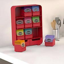 Tea Bag Stand Organizer 150+ Tea Bags Pouch Red Kitchen Cabinet Drawer Storage