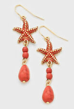 Ocean Sea Life Cruise Texture Natural Stone Starfish Earrings  Coral/Goldtone