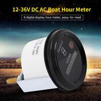 12V-36V DC AC Hour Meter For Marine Boat Engine 2'' Round Gauge Waterproof ams