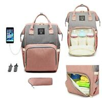 Baby Diaper Bag Waterproof Backpack Mummy Maternity Large Capacity Pink + Grey