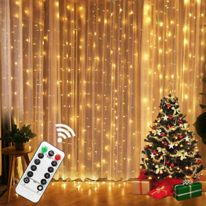 300 LED Curtain Fairy Lights USB String Wall Hanging Lights Remote Wedding Party
