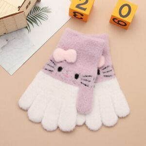 Knitted Warm Gloves With Full Fingers With Cartoon Pattern For Children 3-6 Year