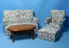 Dollhouse Miniature Living Room Set Couch, Chair, Ottoman & Table Floral ~ T6589