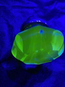 ANTIQUE GLASS DOOR KNOB LIGHT GREEN URANIUM hexagon Door Knob