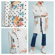 NWT Anthropologie Polka Dot Embroidered Floral Peacoat Coat Large L NEW