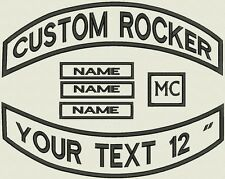 """6 Pieces Custom Embroidered Pointed Rocker Patch Set Biker Motorcycle Badge 12"""""""