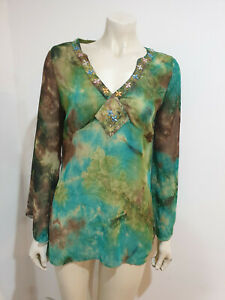 For Dolls Only Green Tie Dye Semi Sheer Embellished Bell Sleeve Tunic Size 14