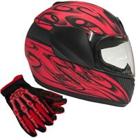 Youth Red Kids Motorcycle Full Face Helmet DOT Red Gloves Small Medium Large XL