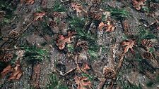 """Ameri Suede Camo Fabric Mixed Pine True Timber Upholstery 60"""" W Hunt Velvet Soft"""