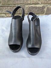 Topshop Slingback Open Toe sandals Faux Leather Black UK 6 heeled chunky