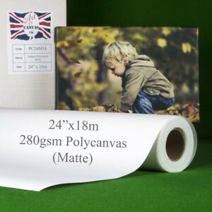 """24"""" x 18m 280gsm Inkjet Poly Canvas Roll Matte, Water Resistant, Brilliant White"""