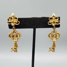 Unsigned Gold Tone Etruscan Key Dangle Clip Earrings