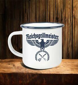 Emaillebecher.-Tasse FUN Grillen Reichsgrillmeister Deutsches Reich Deutschland