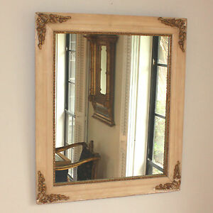 Antique French Mirror with Gold Appliques and White Wood Frame