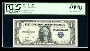 $1 1935-B Silver Vinson ED Block Fr. 1611 PCGS 63 PPQ Serial E16332134D