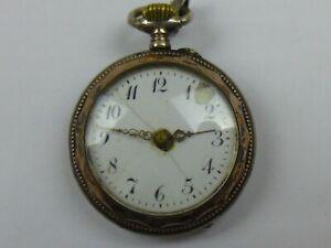 Kleine/Damen Taschenuhr 800er Silber 6 Rubis ca. 1900 Uhr läuft