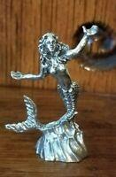 """Miniature Pewter Mermaid Figurine 2.25""""h"""