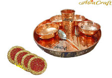 AsiaCraft Pure Copper Dinner Set Thali (Plate) with Bowl, Glass & Spoon