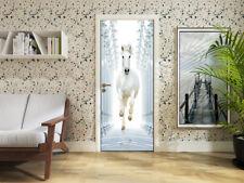 3D Self-Adhesive White Horse Roman Column Bedroom Door Murals Sticker Home Decor