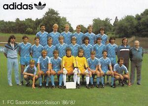 MANNSCHAFTSKARTE   1.FC Saarbrücken  1986-87   DFB ADIDAS Mannschaftsbild 80er