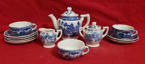 Vintage Child's Porcelain 12 pc Tea Set Blue Willow Japan