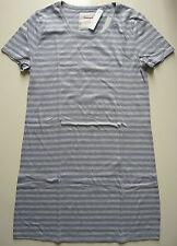 Triumph Nachthemd Damen Gr. 38 Baumwolle lila grau gestreift Kurzarm