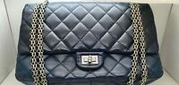 CHANEL Navy Blue Lambskin 2.55 Reissue Quilted Classic Medium 226 Double Flap