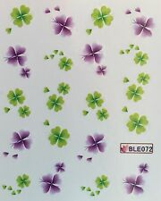 Nail Art Water Decals St. Patricks Day Four Leaf Clover BLE072