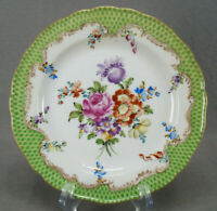 Carl Thieme Dresden Hand Painted Floral Green Fishscales Gold 7 3/4 Inch Plate C