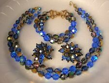 Marvella Crystal Necklace Earrings and Bracelet Vintage Costume Jewelry