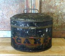 Antique Tin Toleware Decorated CAKE Box Original Black w gold lettering AAFA