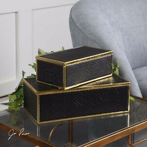 PAIR UKTI MODERN HOME TABLE DECOR FAUX ALLIGATOR STORAGE TRINKET JEWELRY BOXES