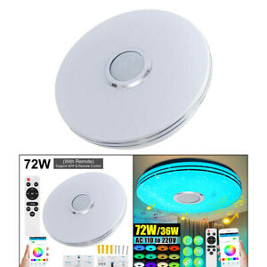 Smart LED Ceiling Light RGB Bluetooth Music Speaker Dimmable Lamp Style 2