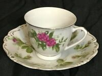 Saji Japan Fine China Rose Floral Saucer & Tea Cup Made in China Gold Rimmed