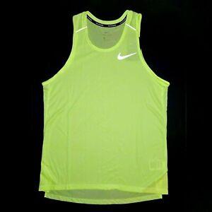 Nike Breathe Drifit Running Tank Top Vapor VOLT Nike Dri-fit 3M CU0333-701 RUN
