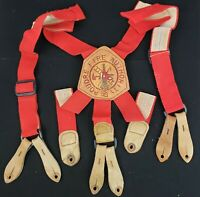 Vintage Poudre Colorado Fire Authority Firefighting- Tooled Leather Suspenders