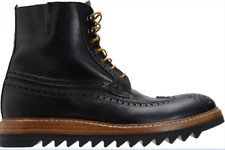 SHOTO  MEN  WING TOP LACE UP  BIKER RIDING COMBAT BOOTS  9.5 . MADE IN ITALY
