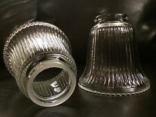 Clear Vintage Ribbed Glass Ceiling Fan Light Globe Shades Replacement Set of 3