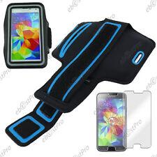 Housse Etui Brassard Sport Armband Noir Samsung Galaxy S5/New + Verre