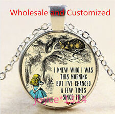 Alice in Wonderland Cabochon Tibetan silver Glass Chain Pendant Necklace #4861